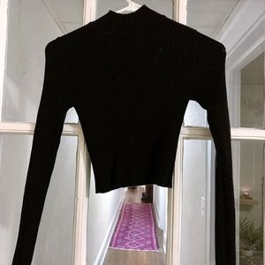 Black Cropped Turtleneck